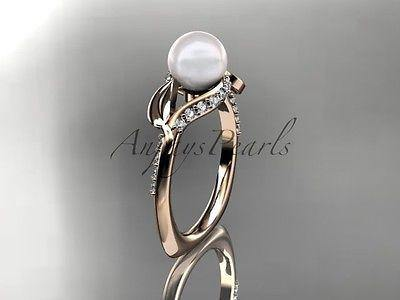 14k rose gold diamond pearl unique engagement ring AP225 - Vinsiena Designs