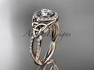 14k rose gold diamond celtic trinity knot engagement ring Moissanite CT7127
