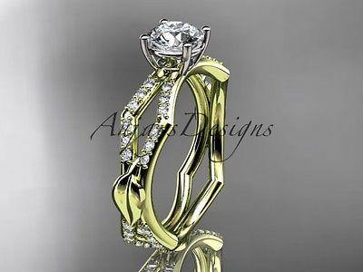 14kt yellow gold diamond leaf and vine, engagement ring Moissanite ADLR353