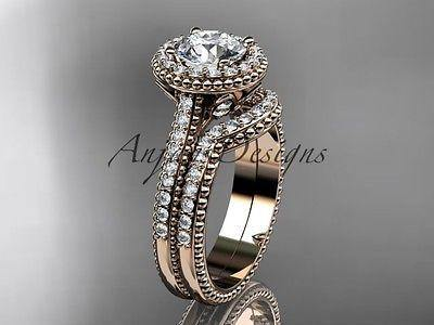 "14k rose gold diamond unique engagement ring ""Forever One""Moissanite ADLR101"