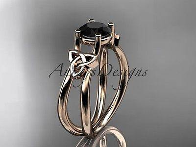 14kt rose gold celtic trinity knot engagement ring Black Diamond CT7130 - Vinsiena Designs