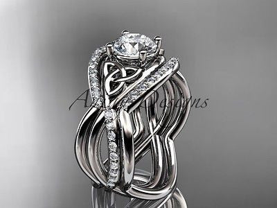 14kt white gold celtic trinity knot wedding set,double band One Moissanit CT790S