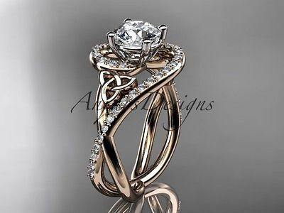 14k rose gold diamond celtic trinity knot wedding ring, engagement ring CT7320