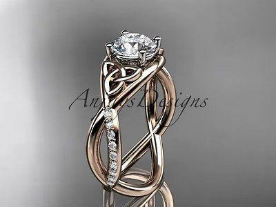 14k rose gold celtic trinity knot engagement ring, wedding ring CT790
