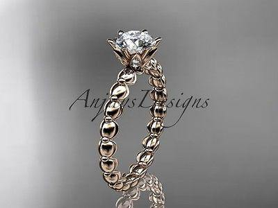 "14k rose gold diamond ,engagement ring ""Forever One"" Moissanite ADLR34"