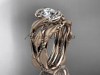 14k rose golddiamond leaf and vine wedding ring, engagement set ADLR65S