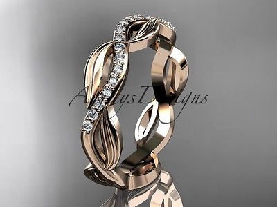 14k rose gold diamond leaf and vine engagement ring, wedding band ADLR100B