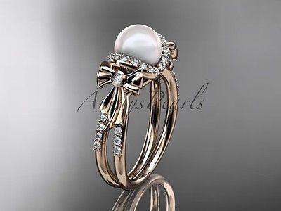 14k rose gold  diamond pearl wedding ring, engagement ring AP155
