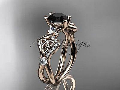 14k rose gold celtic trinity knot engagement ring,wedding Black Diamond  CT768 - Vinsiena Designs