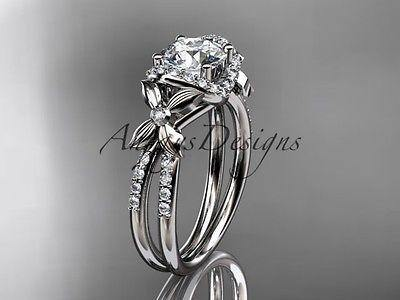 14kt white gold diamond floral wedding ring, engagement ring  ADLR140 - Vinsiena Designs