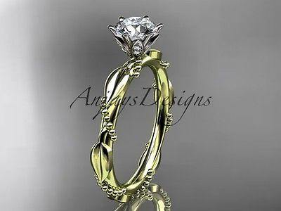 14k yellow gold diamond vine and leaf wedding ring   ADLR178 - Vinsiena Designs
