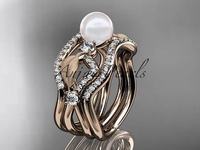 14k rose gold diamond pearl leaf engagement ring with double matching band AP68S - Vinsiena Designs