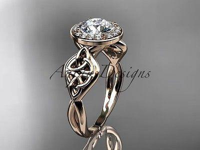 14k rose gold diamond celtic trinity knot wedding ring, engagement ring CT7219