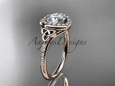 14k rose gold diamond celtic trinity knot wedding ring, engagement ring CT7201