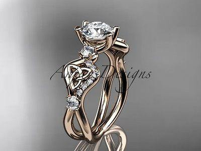 14k rose gold celtic trinity knot engagement ring,wedding ring Moissanite CT768