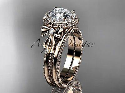 "14k rose gold diamond unique engagement set ""Forever One"" Moissanite ADER157S"