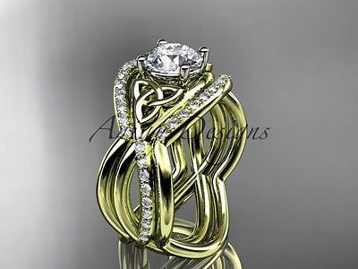 14k yellow gold celtic trinity knot wedding set,double band One Moissanit CT790S