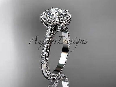 14kt white gold diamond floral wedding ring, engagement ring  ADLR101 - Vinsiena Designs
