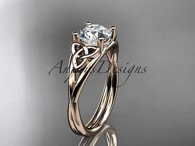 14kt Rose Gold Celtic Trinity Knot Wedding Ring Engagement Ring Ct718