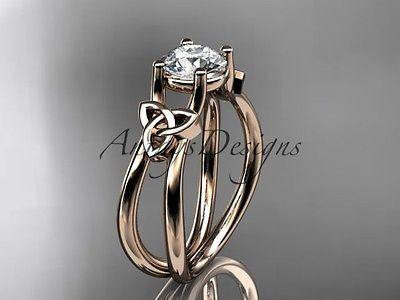 14k rose gold celtic trinity knot wedding ring, engagement ring CT7130 - Vinsiena Designs