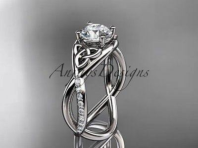 14k white gold celtic trinity knot engagement ring, wedding ring CT790