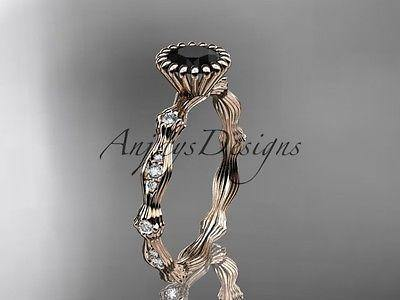 14k rose gold diamond  engagement ring Black Diamond ADLR21