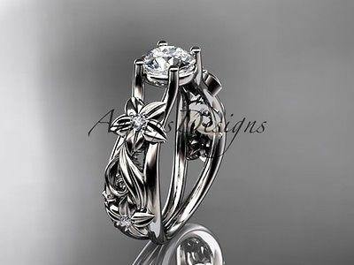 14kt white gold diamond floral wedding ring, engagement ring  ADLR216 - Vinsiena Designs
