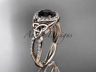 14k rose gold diamond celtic trinity knot engagement ring Black Diamond CT7127