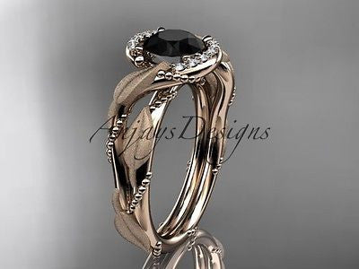 14k rose gold diamond engagement ring with Black Diamond ADLR65