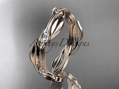 14k rose gold diamond leaf and vine wedding ring, engagement ring ADLR31B - Vinsiena Designs