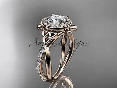 14k rose gold celtic trinity knot engagement ring, wedding ring Moissanite CT789 - Vinsiena Designs