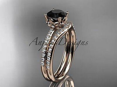 14k rose gold diamond engagement set with a Black Diamond ADLR92S