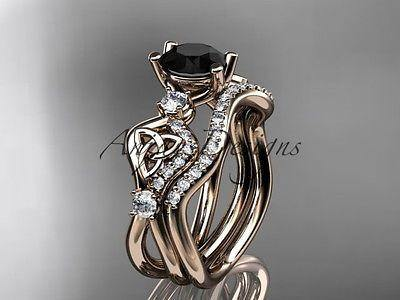 14k rose gold celtic trinity knot engagement set,Black Diamond CT768S