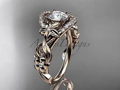 14k rose gold flower diamond unique engagement ring  ADLR211