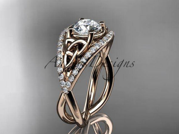 14kt rose gold celtic trinity knot engagement ring,diamond wedding ring CT788 - Vinsiena Designs