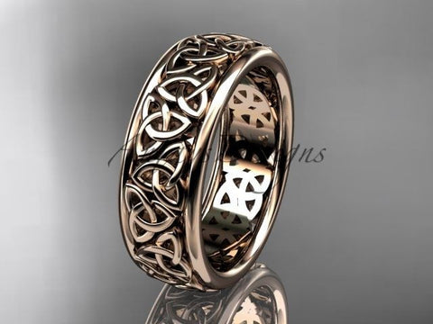 14kt rose gold celtic trinity knot wedding band, engagement ring CT7163G - Vinsiena Designs