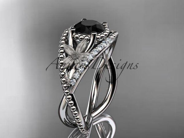 14kt white gold diamond leaf and vine engagement ring Black Diamond ADLR88 - Vinsiena Designs