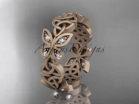 14k rose gold diamond celtic knot, matte finish, butterfly wedding band CT7418B - Vinsiena Designs