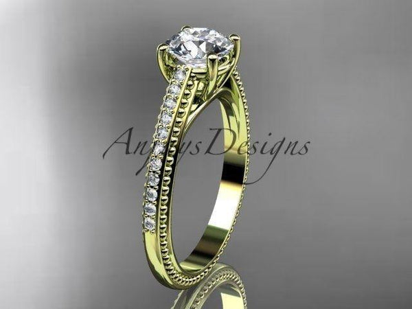 14k yellow gold diamond unique engagement ring, wedding ring ADER87 - Vinsiena Designs