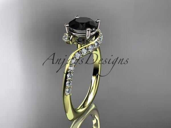 14k yellow gold engagement ring, wedding ring enhanced Black Diamond ADLR277 - Vinsiena Designs