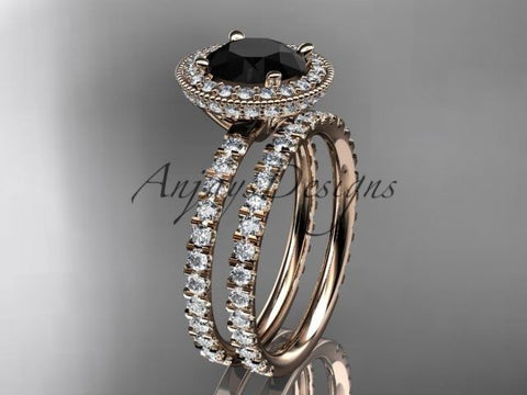 14k rose gold diamond unique engagement ring Black Diamond ADER106S