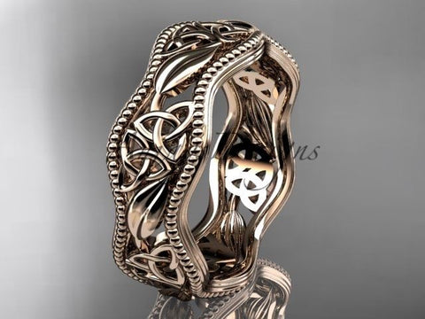 14kt rose gold celtic trinity knot wedding band, engagement ring CT7190G - Vinsiena Designs