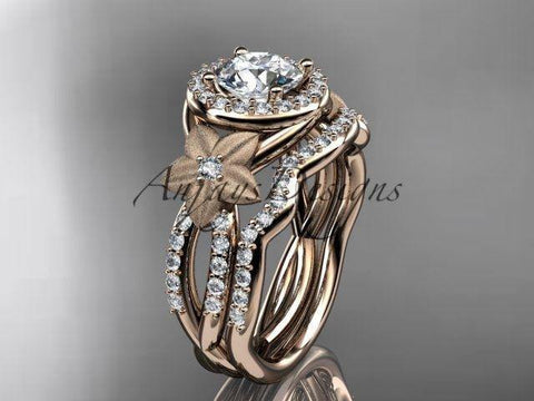 "14k rose gold diamond floral engagement set, ""Forever One"" Moissanite ADLR127S"