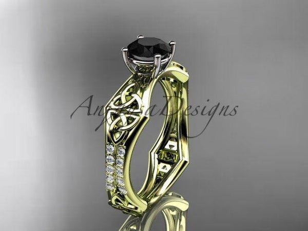 14kt yellow gold diamond celtic, enhanced Black Diamond, engagement ring, CT7353 - Vinsiena Designs