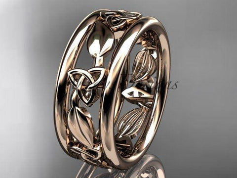 14kt rose gold celtic trinity knot wedding band, engagement ring CT7233G - Vinsiena Designs