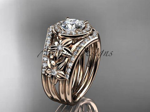 14k rose gold diamond floral wedding ring, engagement set, double band ADLR131S