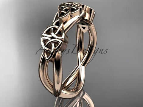14kt rose gold celtic trinity knot wedding band, engagement ring CT7505G - Vinsiena Designs