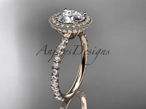 14k rose gold diamond unique engagement ring, wedding ring  ADER106