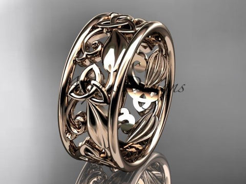 14kt rose gold celtic trinity knot wedding band, engagement ring CT7150G - Vinsiena Designs