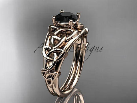 14k rose gold celtic trinity knot engagement,wedding ring,Black Diamond CT765